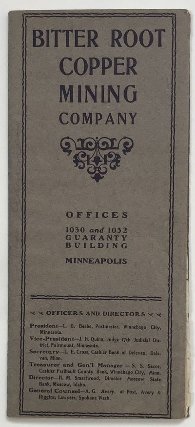 Minneapolis, 1902. About very good.. pp. Original printed wrappers, stapled. Light wear to wraps. Ta...