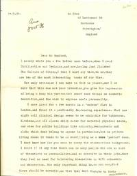 TYPED LETTER SIGNED (TLS) to Lewis Mumford Auden Writes a Fan Letter to Lewis Mumford