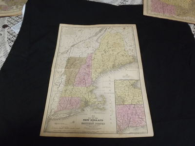 Engraved double-page colored map, 11 ½