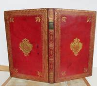 ANTIQUE DESK CORRESPONDENCE FOLDER IN RED MOROCCO WITH ROYAL COAT OF ARMS TO COVERS.