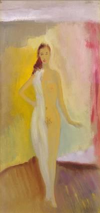Standing Nude: White Drape On Shoulder