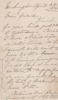 ALS, Handwritten Letter by 'Grace Greenwood', pseudonym of Sara J. Lippincott, Sara Clarke: writer, activist, abolitionist