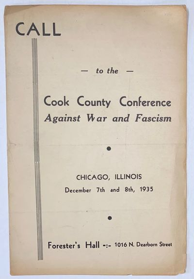 Chicago: the Conference, 1935. Four-panel brochure, 6x9 inches, fold-creased, paper toned, edgeworn....