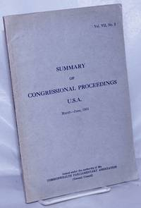 image of Summary of Congressional Proceedings of General Interest Compiled from the Congressional Record of the United States of America, March - June, 1951