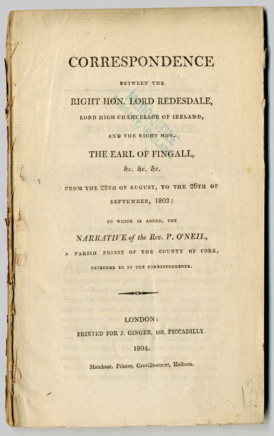 London: Printed for J. Ginger, 1804. ,40pp. Octavo. Extracted from bound volume. Sewn with many cont...
