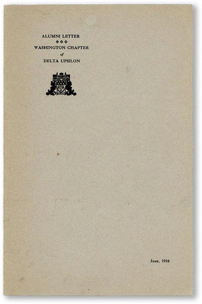 N.p. : Washington Chapter, Delta Upsilon, 1916. Pamphlet. Octavo pamphlet (22cm). Printed card wrapp...