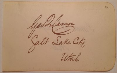 1890. unbound. near fine. Measures 3 x 4.75 inches, no place, no date, circa 1890. Signed