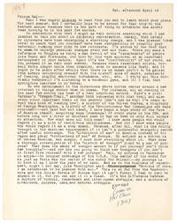 Typed Letter to Prince Hal, with autograph note: unmailed letter to Hal Chase 1947