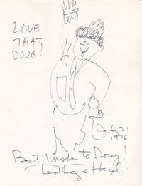 AN ORIGINAL PEN-AND-INK DRAWING of THE CARTOON CHARACTER HAZEL, INSCRIBED to DOUG & SIGNED by the CARTOONIST TED KEY.