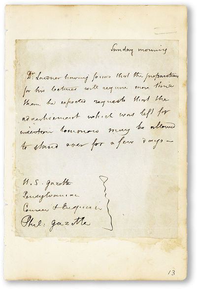 N.p., n.d., ca. 1845. Original autograph note of six lines and approx. 35 words. Mounted to leaf app...
