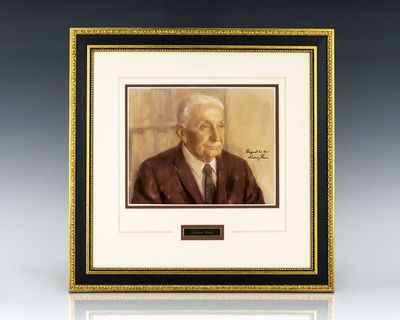 1971. Portrait of the influential Austrian School economist Ludwig von Mises. Boldly signed,