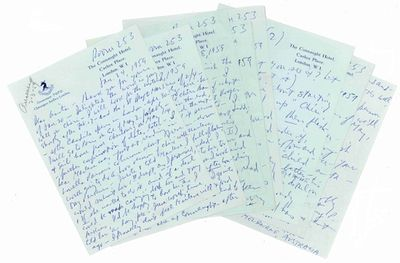 London, Liverpool, etc., 1959. Ten autograph letters, signed ('Billy' or 'B'), 22 pages, octavo; two...