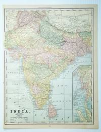 1889 Color Map of India by  Geo. F Cramm - First Edition Thus - 1889 - from RareNonFiction.com and Biblio.com