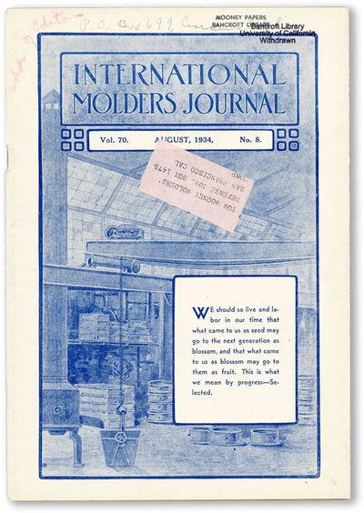 Cincinnati: International Molders' Union of North America, 1933. First Edition. Octavo. Single issue...