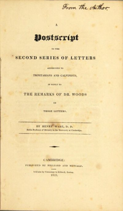 Cambridge: published by Hilliard and Metcalf. Sold also by Cummings & Hilliard, Boston, 1823. 8vo, p...