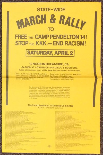 San Francisco: Camp Pendleton 14 Defense Committee, 1978. 11x17 inch broadside or poster on goldenro...