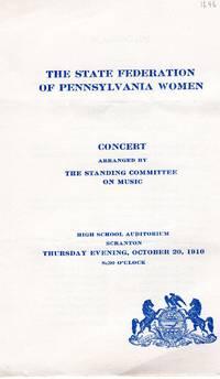 The State Federation of Pennsylvania Women Concert Program, 1910