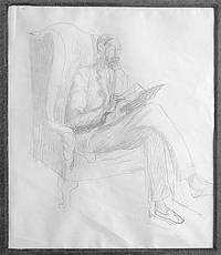 Lytton Strachey Reading. Original full length pencil portrait of Lytton Strachey sitting in a chair reading, 11 x 9 ½ inches, unsigned and undated but circa 1930