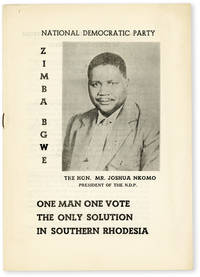 image of Zimba Bgwe: One Man One Vote the Only Solution in Southern Rhodesia