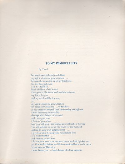Detroit: Broadside Press, 1971. First Edition. Near fine. 4to. Broadside printed recto/verso, folded...