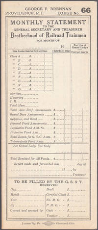 image of Brotherhood of Railroad Trainmen Monthly Statement Lodge 66
