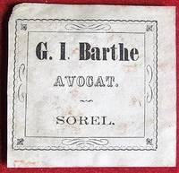 image of Ex-libris Québec G.I. Barthe, Avocat, Sorel