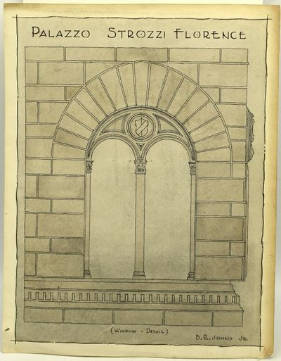 A wash drawing by Richmond architect Ben Johns, of a window at the Palazzo Strozzi in Florence. Mr. ...