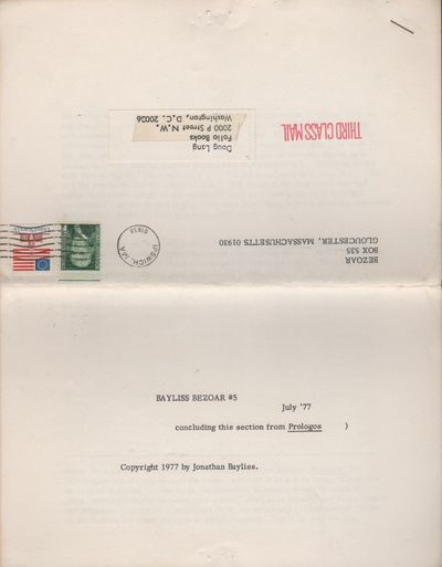 Gloucester, MA: Bezoar, 1977. First Edition. Wraps. Good +. 4to. Five leaves, formerly stapled at to...