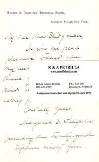 Autograph Letter Signed (ALS) on letterhead of Harper & Brothers Editorial Rooms, to a Miss Bridgman, 24 January 1895 by  Margaret E Sangster - Signed First Edition - 1895 - from R & A Petrilla, ABAA, IOBA (SKU: BOOKS013286I)