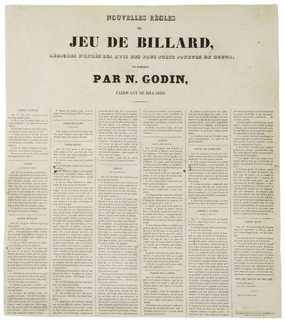 Rouen: N. Godin, 1840. Letterpress broadside, Text in six columns listing the rules for various type...
