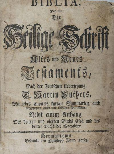 Germantown, PA: Christoph Saur, 1763. Second edition. Hardcover. fair. Quarto. , 992, 274, pp. Conte...