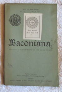 image of Baconiana - volume 9, new series, January 1901 to October 1901, four issues in wrappers