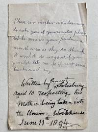 19th century letter in which boy requests to be homed as mother is sent to Workhouse