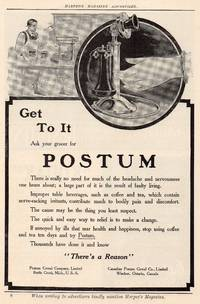 image of 1911 Illustrated Advertiement for Postum Cereal , Antique Ad
