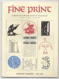 image of Fine Print: Volume 9, Number 1, January, 1983: Valenti Angelo: 1897-1982
