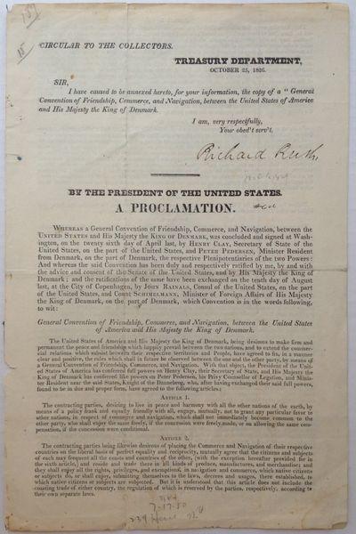Washington, 1826. unbound. 3 pages, 11.5 x 7.5 inches, Washington, October 25, 1826. Printed Treasur...