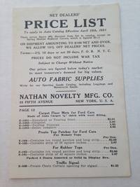 image of Net Dealers' Price List To apply to Auto Catalog Effective April 15th, 1921.