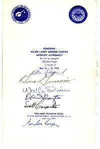 Signed Luncheon Program in Honor of Leroy Gordon Cooper, Jr.: Shepard,  Grissom, Schirra, Slayton, Carpenter, Cooper