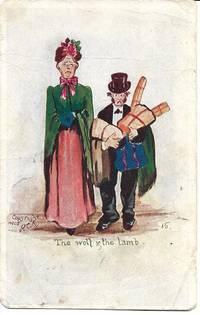 image of Haggard Husband_Domineering Wife on 1907 Comic Postcard