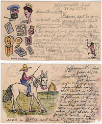 Two postal cards featuring multicolor comic illustrations including one self-portrait