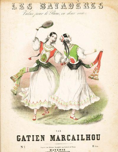 Mayence: B. Schott. Marcailhou, Gaiten. Les Bayaderes: Valses pour le Piano en Deux Suites, No. 1. M...