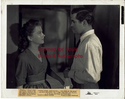 (not signed) on a full length shot of Anne Baxter with Tyrone Power in a scene from the 1948 film