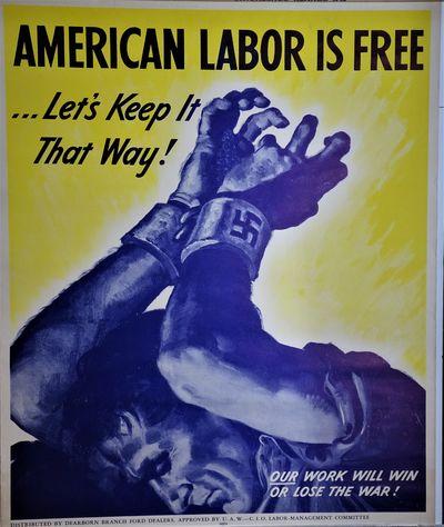 Detroit: U.A.W.- C.I.O Labor-Management Committee RARE World War II propaganda poster,