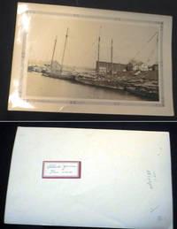Circa 1890 Photograph of Small Sailing Vessels at Dockside