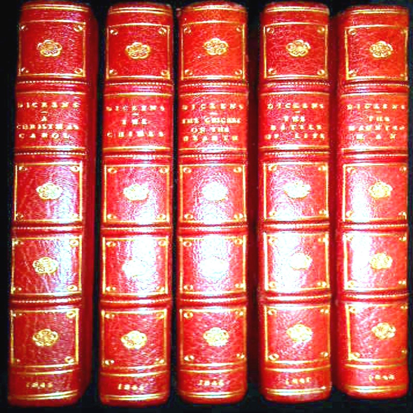 1843 CHRISTMAS BOOKS A CHRISTMAS CAROL CHARLES DICKENS 1ST EDITION 1ST ISSUE 5 BOOKS SET ...