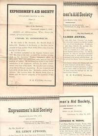 GROUP OF FOUR (4) DEATH NOTICES FOR MEMBERS OF THE EXPRESSMEN'S AID SOCIETY:; Each giving the name of the deceased, his position with American Express Company, cause of death, family, &c by American Express - 1888