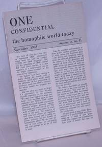 image of One Confidential: the homophile world today vol. 9, #11, November, 1964