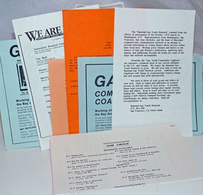 San Francisco and Bay Area: Various publishers, 1990. Seven leaflets for various Gay Youth organizat...