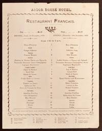 ASTOR HOUSE HOTEL.  Restaurant Francais.; Dinner ... Thursday, 14th December, 1911