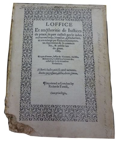 Imprinted at London: by Richard Tottill, 1583. Poor. , 206 leaves. 18cm. Lacks binding. Stitching go...